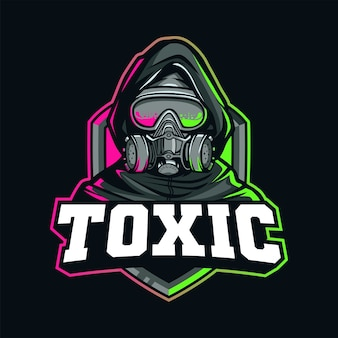 Giftige gasmasker mascotte voor logo esport en sport