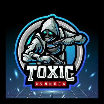 Giftige gunners mascotte esports logo-ontwerp