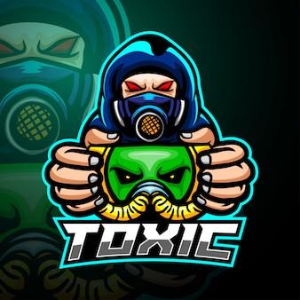 Giftige man mascotte esport logo ontwerp