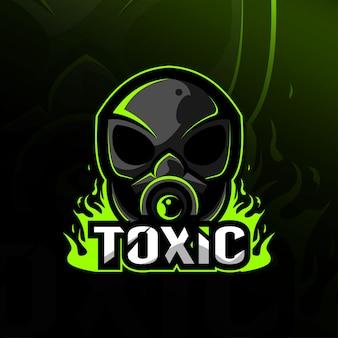 Giftige schedel buitenaardse mascotte logo esport sjablonen