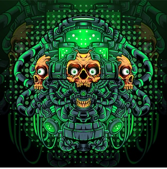 Giftige schedel mascotte esport logo ontwerp