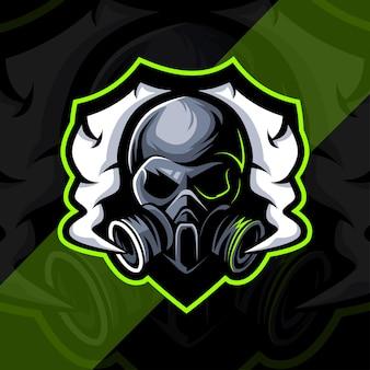 Giftige schedel mascotte esport logo-ontwerp