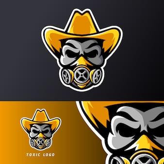 Giftige schedel masker hoed sport esport gaming mascotte logo sjabloon, voor streamer team
