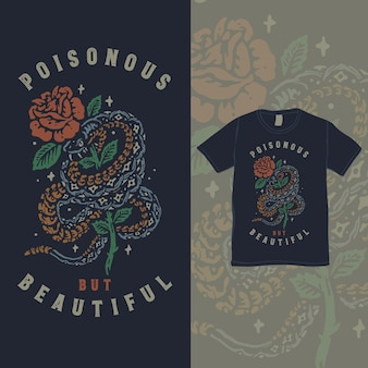Giftige slang en de rozen vintage illustratie