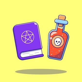 Giftige vloeibare fles en magische boek cartoon platte illustraties.