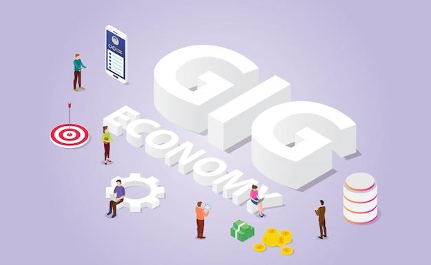Gig economy-concept voor professionele freelancer met mensen en moderne isometrische stijl