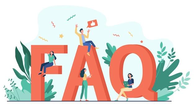 Gigantische faq en kleine mensen platte vectorillustratie. cartoongebruikers die vragen stellen en hulp krijgen bij problemen. handige instructies en informatieconcept