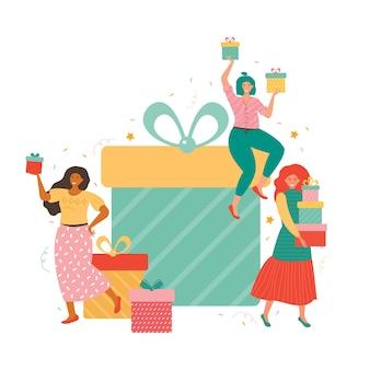 Gigantische geschenkdozen en groep gelukkige kleine vrouwen met een heleboel cadeautjes