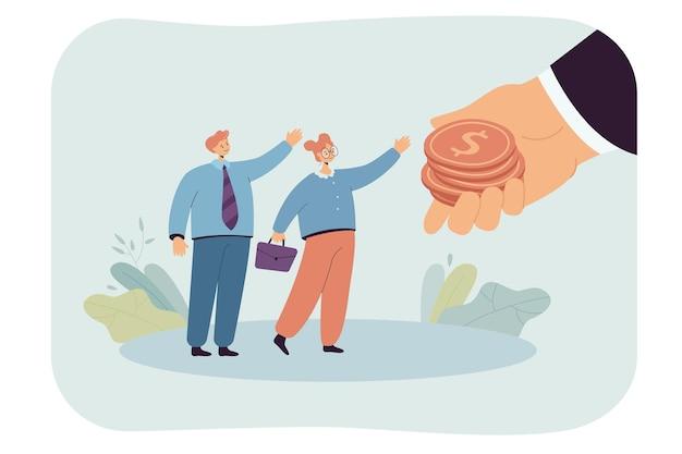 Gigantische hand die salaris uitdeelt aan kleine arbeiders