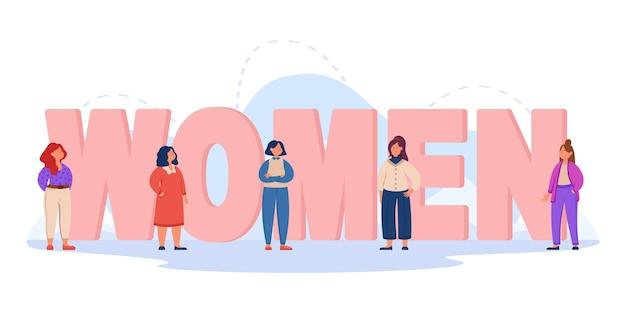 Gigantische woordletters vrouwen met kleine meisjes in de buurt