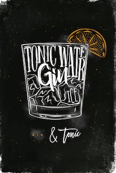 Gin tonic cocktail belettering tonic water, gin, ijs in vintage afbeeldingsstijl tekenen met krijt en kleur op schoolbord achtergrond