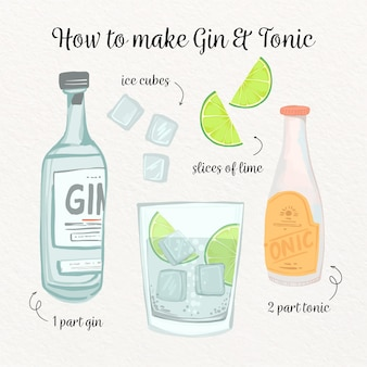 Gin-tonic cocktail recept