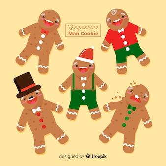 Gingerbread lachende man collectie Gratis Vector