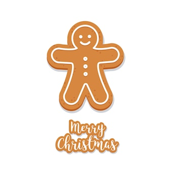 Gingerbread man cookie christmas geïsoleerde achtergrond