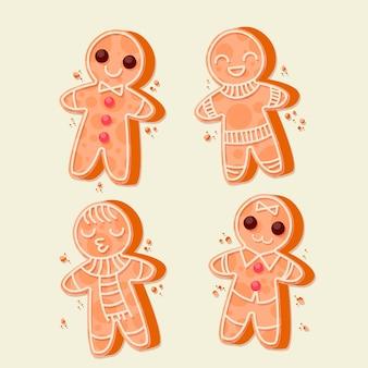 Gingerbread man cookie-collectie in plat design