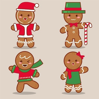 Gingerbread man cookie-collectie in plat design