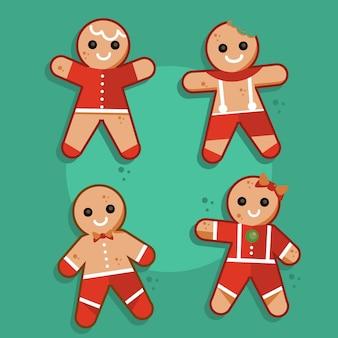 Gingerbread man cookie-collectie in plat design Gratis Vector