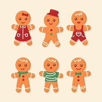 Gingerbread man cookie-collectie in plat ontwerp