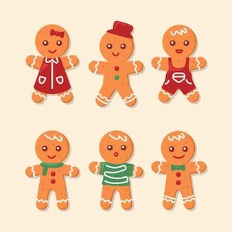Gingerbread man cookie-collectie in plat ontwerp