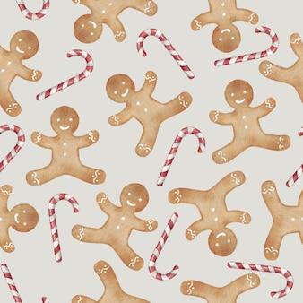 Gingerbread man cookie en candy cane naadloze patroon