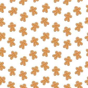 Gingerbread man cookie naadloze patroon geïsoleerde achtergrond