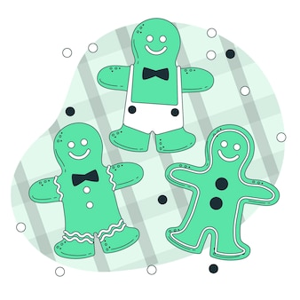 Gingerbread man cookies concept illustratie