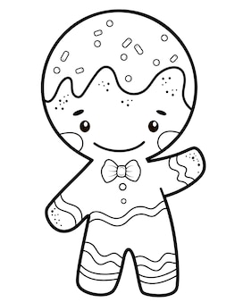 Gingerbread man illustratie om in te kleuren