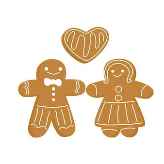 Gingerbread man kerst nieuwjaar gemberkoekje in de vorm van een persoon set brown pepper cake
