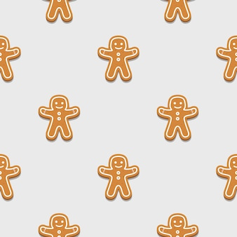 Gingerbread man naadloze patroon achtergrond.