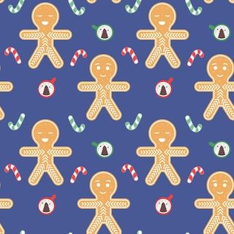 Gingerbread man naadloze patroon kerst feestelijke achtergrond met snoep en koffiekopje