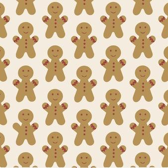 Gingerbread man patroon achtergrond kerstkoekjes vectorillustratie