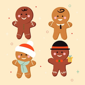 Gingerbread mannen cookie met schattige accessoires hand getrokken