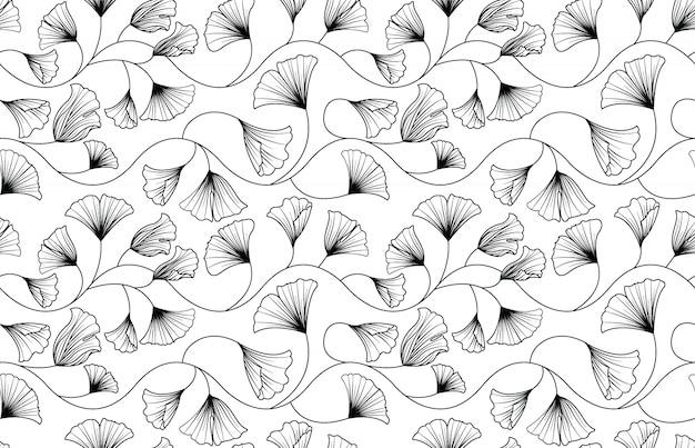Ginkgo biloba verlaat naadloos patroon