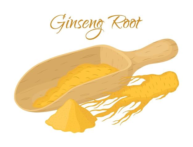 Ginseng, natuurlijke wortel met poeder in houten spoel