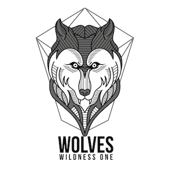 Giometric wolves zwart en wit illustratie