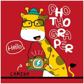 Giraf de fotograaf grappige dieren cartoon