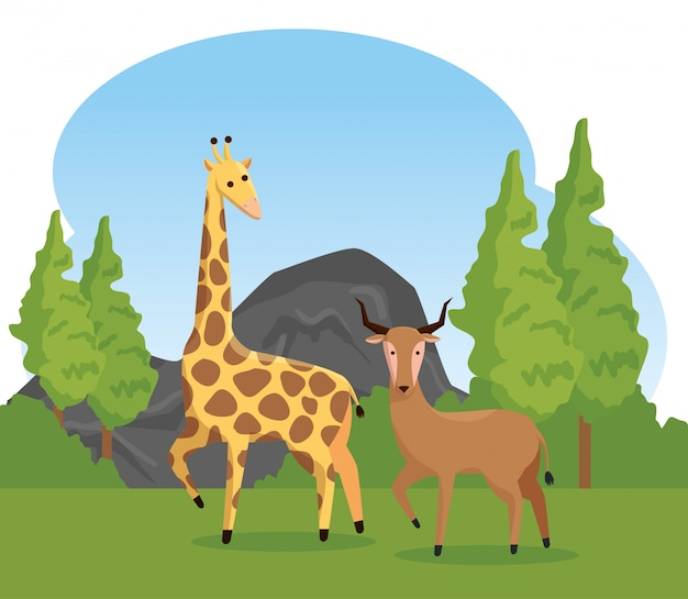 Giraf en herten wilde dieren met bomen