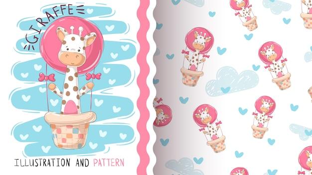 Giraf en luchtballon - naadloos patroon.
