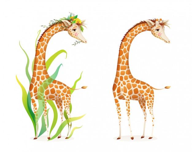 Giraf in de natuur realistische 3d cartoon illustratie voor dierentuin, safari of prentenboek voor kinderen. leuke sierlijke giraf met bladeren en bloemen, mooie realistische afrikaanse dierenillustratie.