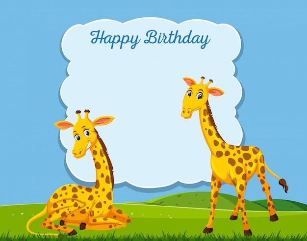 Giraf op gelukkig bithday kaartsjabloon