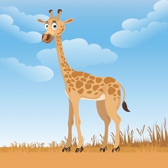 Giraffe cartoon in de tuin