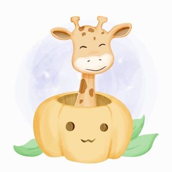 Giraffe hoofd uit pompoen komt
