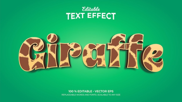 Giraffe huidpatroon 3d-stijl bewerkbare teksteffecten