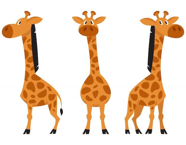 Giraffe in verschillende poses. afrikaanse dieren in cartoon-stijl.