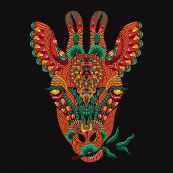Giraffe mandala zentangle illustratie en t-shirtontwerp premium