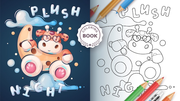 Giraffe night - kleurboek voor kind en kinderen Premium Vector