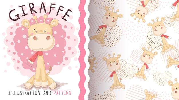 Giraffe stripfiguur met scrarf naadloos patroon