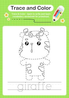 Giraffe-trace en kleuterschool-werkbladtracering