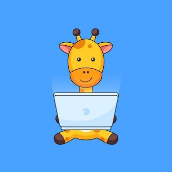 Giraffe werk online computer laptop overzicht illustratie mascotte