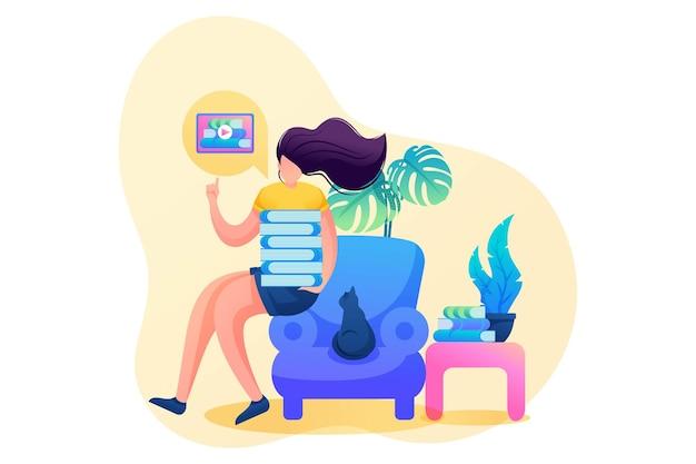 Girl at home scholing tijdens de pandemie, online training. platte 2d karakter. concept voor webdesign.